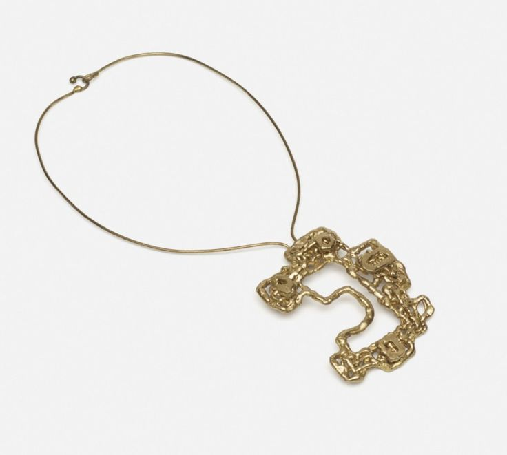 """Ibram Lassaw gilt bronze modernist design pendant necklace - pendant measures 3-1/2"""" by 2-3/4"""" - marked """"Lassaw"""" on applied plaque at back, at auction opening bid of $2000"""