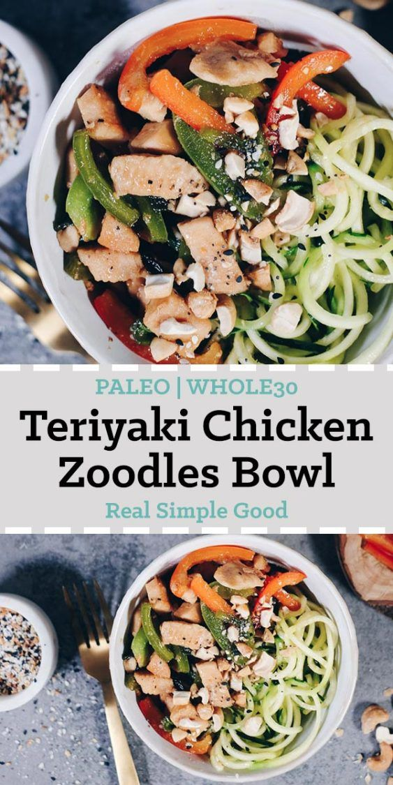 Teriyaki Chicken Zoodles Bowl Paleo Whole30 Recipe On The