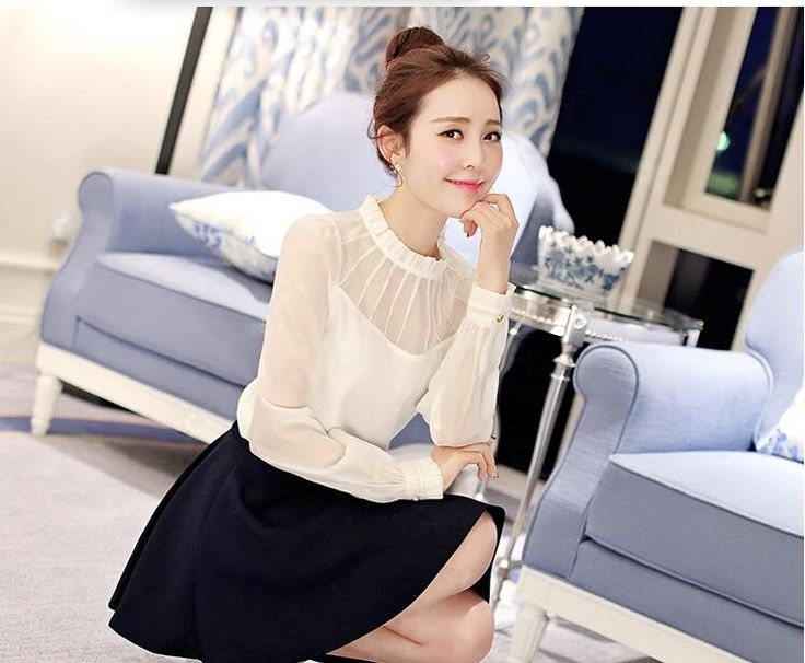 Blusas Feminina 2015 otoño invierno nueva elegante ropa las mujeres delgado se pliega blusa de gasa de manga cuello alto camisa blanca en Blusas y Camisas de Moda y Complementos Mujer en AliExpress.com | Alibaba Group