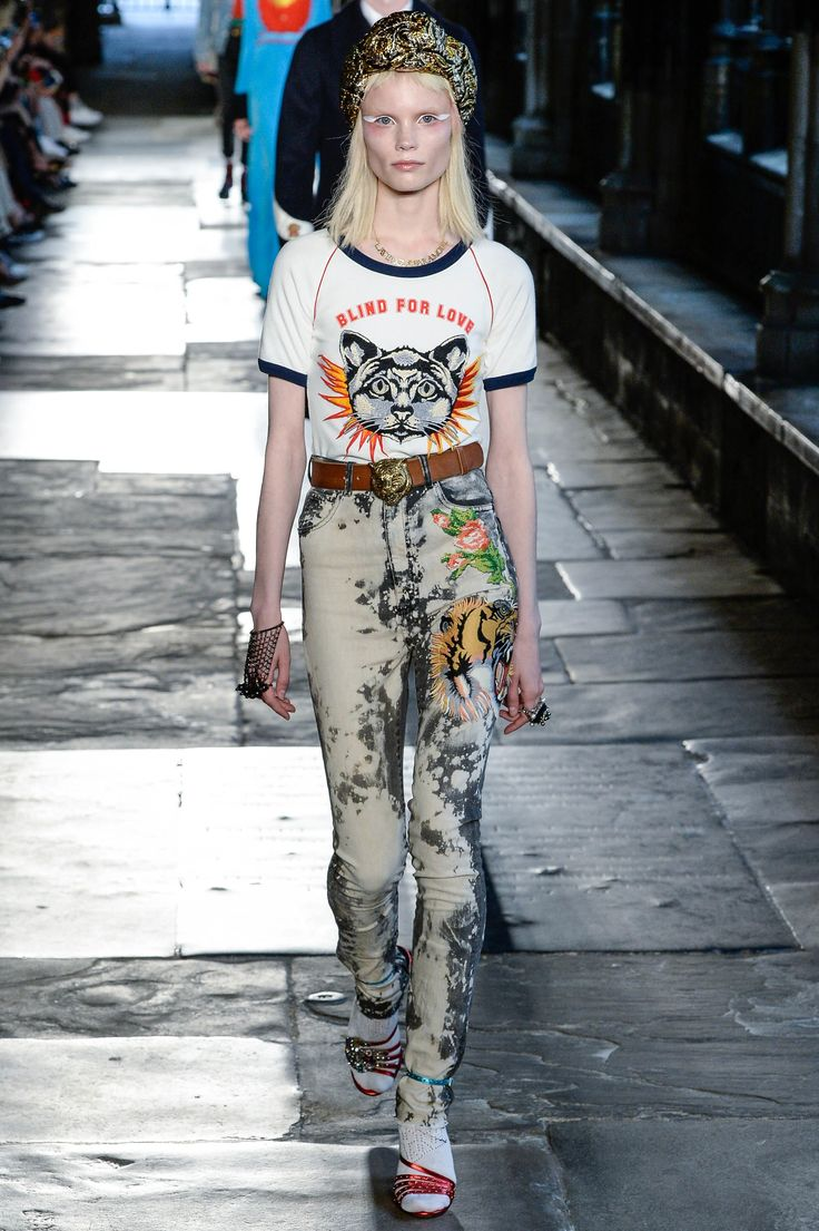 This will soon be on the High Street- boyfriend jeans - even better- fast fashion. Gucci Resort 2017 Fashion Show