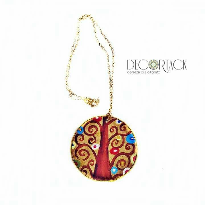#collana in #argento925 bagnato oro con #alberodellavita di #GustavKlimt #dipintoamano su tondo di legno
