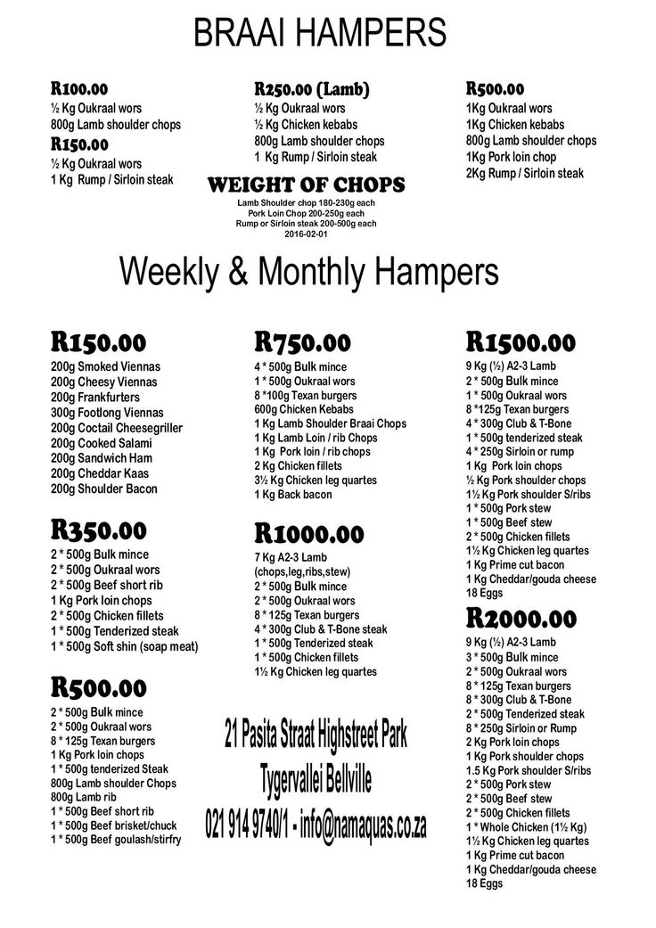 """Skaapland Tyger Valley Butchery"" Braai, Weekly and Monthly Hampers"