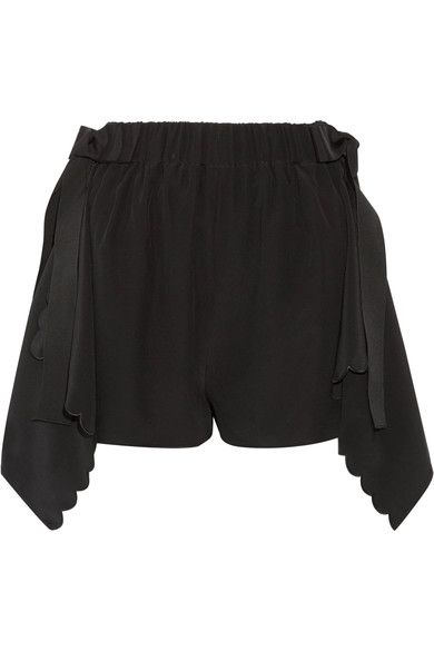 Fendi - Scalloped Draped Silk Crepe De Chine Shorts - Black - IT