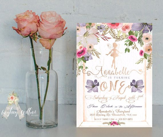 Fairy Invitation First Birthday Invitation by LaughingWillowDesign