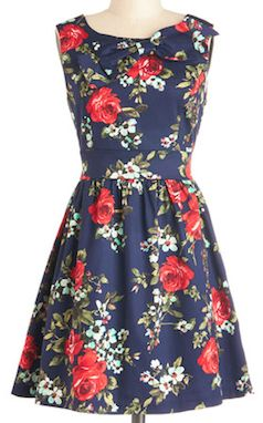Navy with floral print dress
