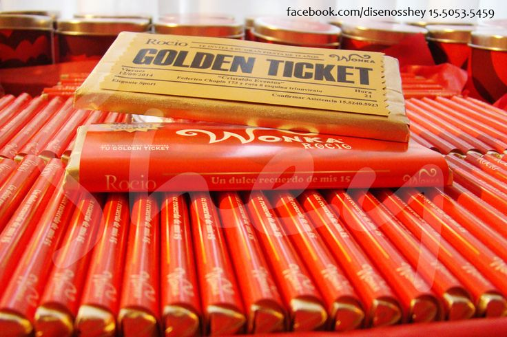 Invitaciones Willy Wonka chocolate de primera marca +  envoltorio externo + TICKET DORADO 15.5053.5459 facebook.com/disenosshey