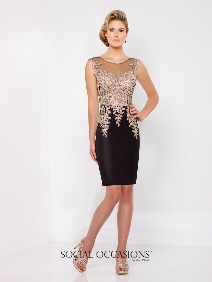 Social Occasions by Mon Cheri - 116855A - Sleeveless novelty crepe above-the-knee sheath, illusion bateau neckline over hand-beaded embroidered sweetheart bodice with dropped waist, illusion back with matching embroidery. Also available with hem lace as style 116855B.  Sizes:4 – 20  Colors:Black/Gold, Ivory/Gold, Aqua/Gold