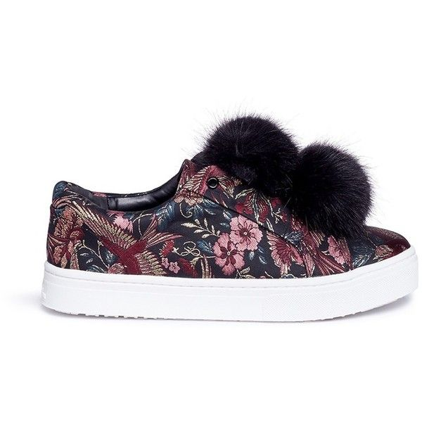 Sam Edelman 'Leya' pompom floral and bird jacquard flatform sneakers (3670 TWD) ❤ liked on Polyvore featuring shoes, sneakers, floral print sneakers, oversized shoes, sam edelman shoes, flower pattern shoes and flatform trainers