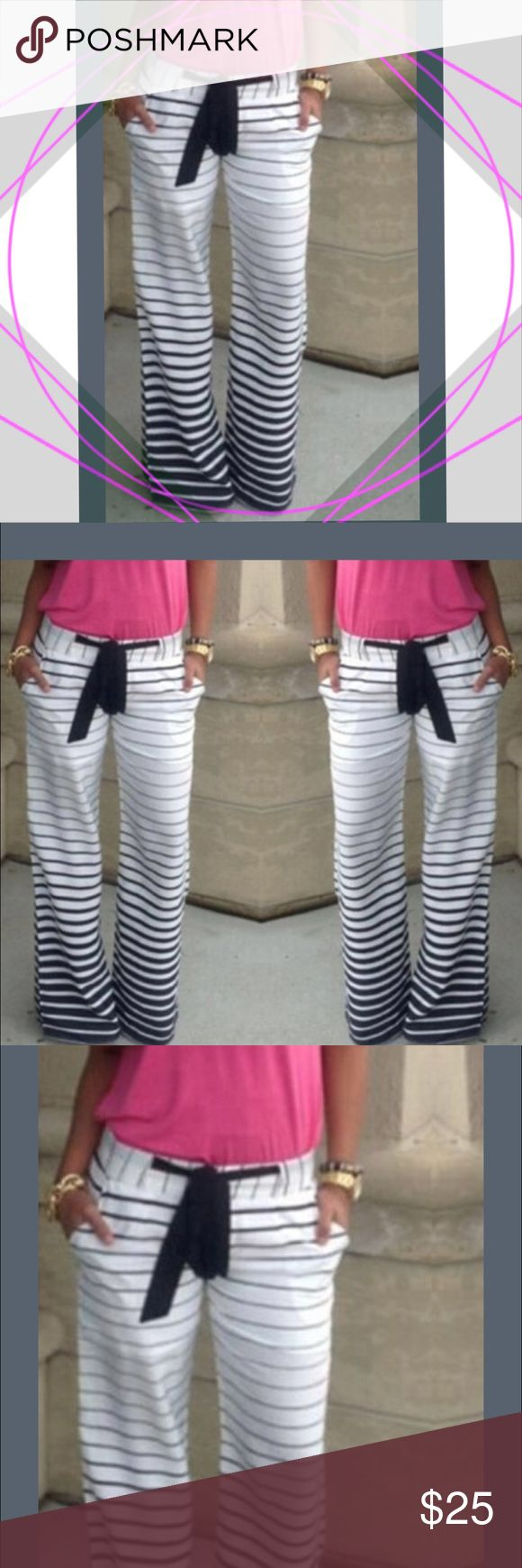 🏁Black & White Stripes printing Loose High Waist Women's Fashion Black and White Stripes printing Loose Casual Pants Harem Loose High Waist Trousers Straight trousers Wide Leg Long Pants Ethnic style pants. They are very comfortable, I will be placing a order for more for my mom, sister and niece. Let me know if you are interested in ordering these, how many and what size. Pants Boot Cut & Flare