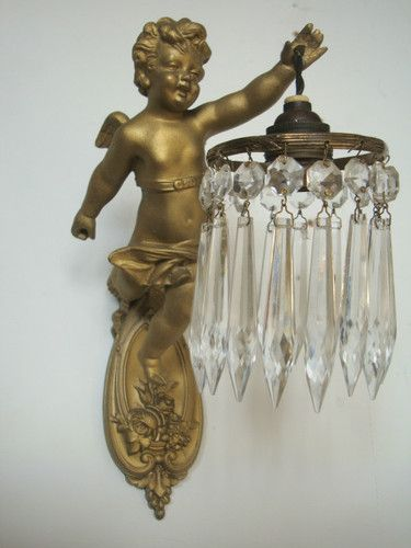 Antique Chandelier Wall Sconces : Vintage French Cherub Crystal Wall Sconce Cherubs Sweet Cherubs Pinterest Lyktor och Lampor