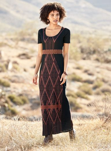 Diamonds from a Laotian ceremonial cloth add a striking graphic to our pima jacquard knit maxi-dress. In earthy hues of raisin, rose and copper on black, with a scoop neck, banded empire waist and gentle A-line hem.