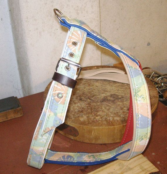 check it out a dog harness hand made from recycled leather and curtain fabric it looks awesome by  http://www.etsy.com/uk/shop/newforestcrafts