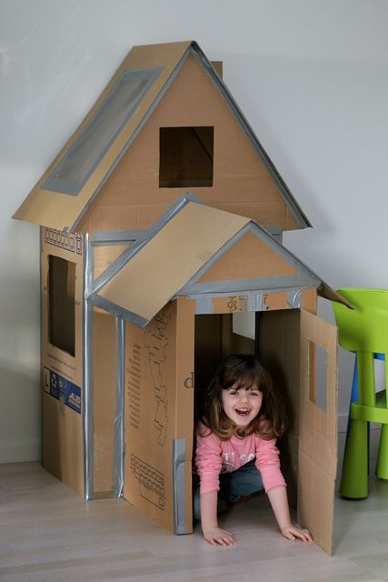 playhouse made out of cardboard boxes.