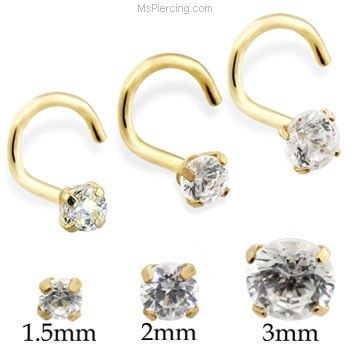 14K Real Gold (Nickel free) Nose Screw with Round CZ on MsPiercing