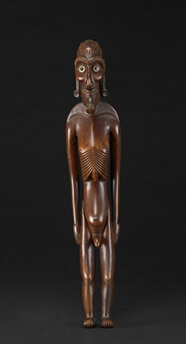 Standing male figure (Moai kavakava), late 18th century-mid 19th century, wood, bone, red ochre, Easter Island, 16 15/16 x 3 1/4 x 2 3/4 in.