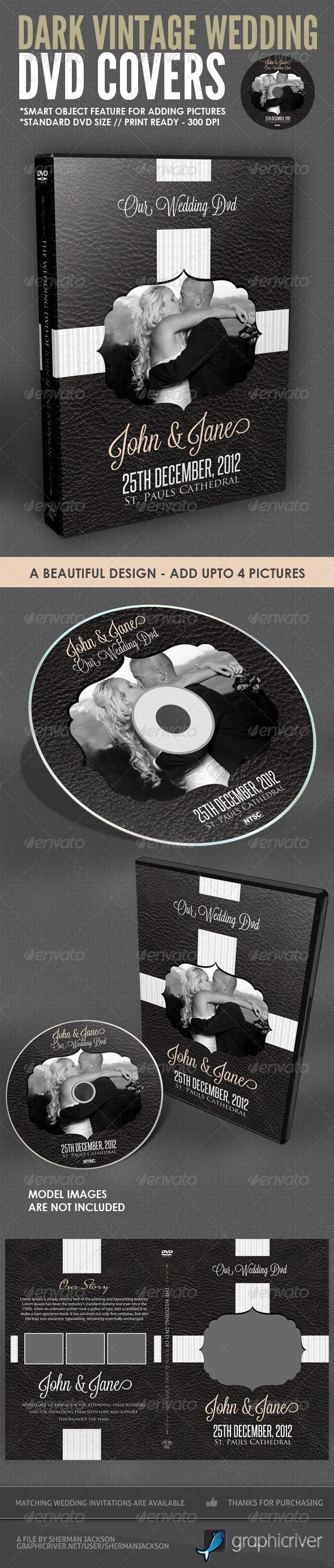 Dark Vintage #Wedding DVD #Cover #Template - #CD & #DVD #Artwork Print Templates Download here: https://graphicriver.net/item/dark-vintage-wedding-dvd-cover-template/2243486?ref=alena994