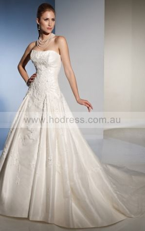 A-line Sleeveless Strapless Lace-up Floor-length Wedding Dresses feaf1078--Hodress