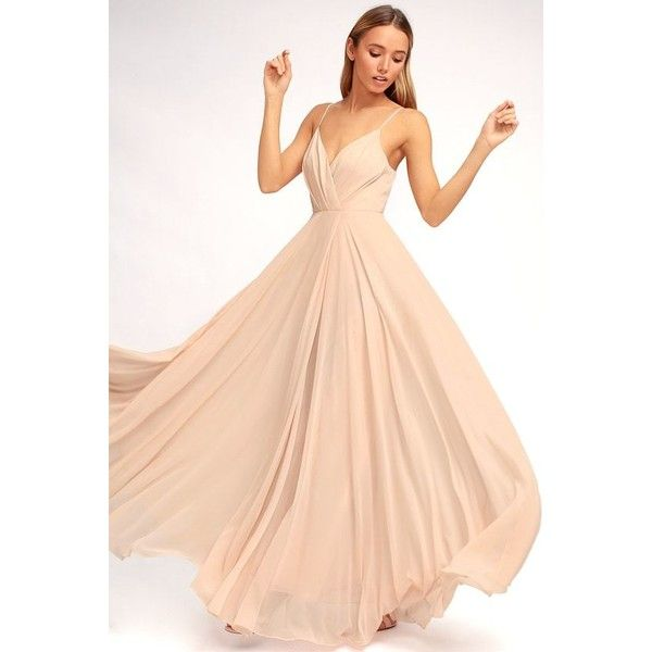 Lulus  All About Love Blush Pink Maxi Dress ($97) ❤ liked on Polyvore featuring dresses, gowns, pink, red evening gowns, red dress, fitted maxi skirt, long pleated skirt and maxi dresses