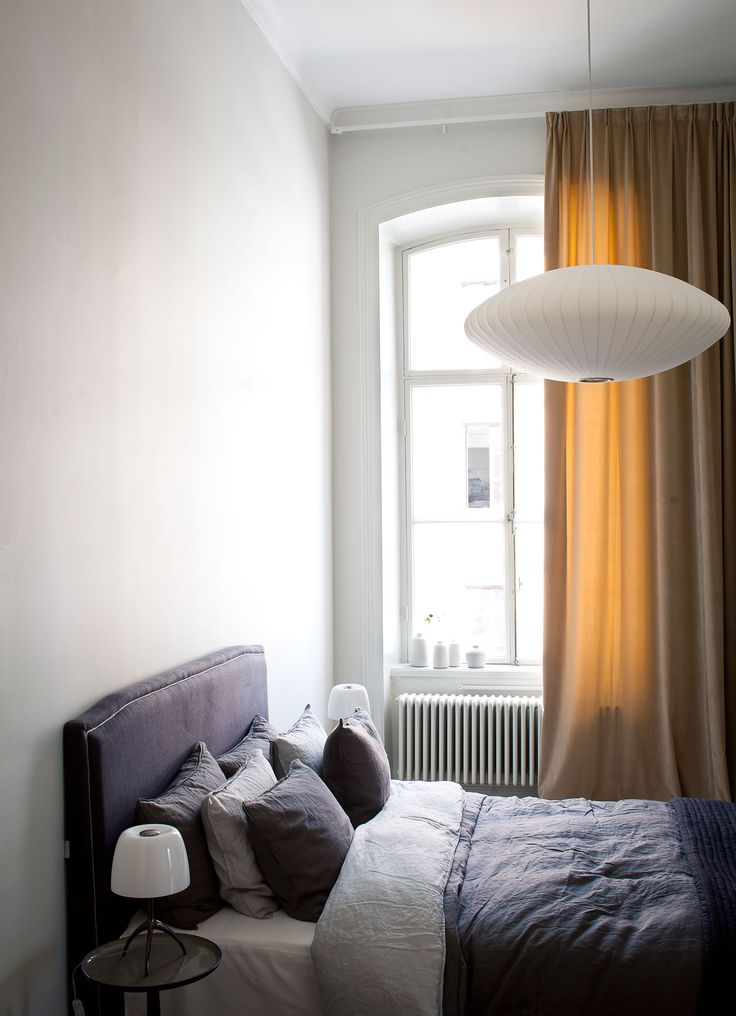 Oscar Properties #oscarproperties  Lyceum, Oscar Properties, Stockholm, design, lamp, interior, design, bed, window, food, lamp, purple, ladder, bedroom