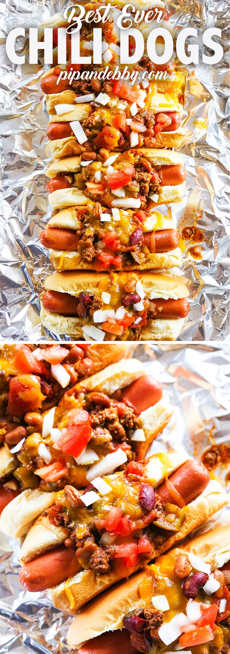 Best Ever Chili Dogs Recipe | Great use for leftover chili! These Chili Dogs are comforting and delicious and great as a dinner or party food!