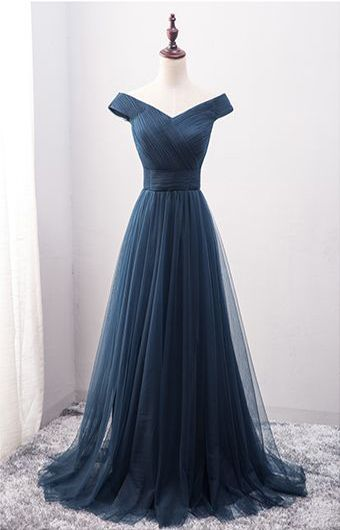 New Arrival A-Line Off-Shoulder Navy Blue Tulle Long Prom Dress | Vestido longo azul de tulle