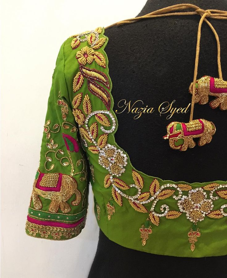 Leaf Green Elephant Bridal Blouse. Stunning leaf green bridal designer blouse with floret lata design hand embroidery bead and kundan work. Designer blouse with elephant motif. 23 February 2018