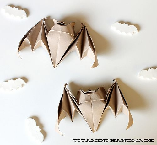 DIY Origami Bats from Vitamini Handamde.   This link leads you to a video for making these DIY origami bats.