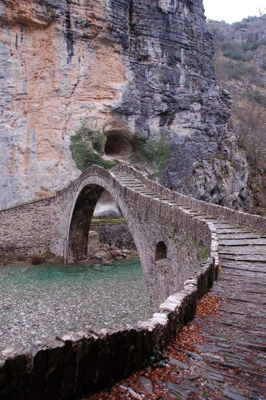 one of the most popular stone bridges in Epirus, the bridge of Kokoras - Zagorohoria, Greece