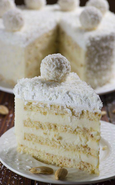 Almond Coconut Cake: Raffaello candies adorn the top of this coconut dessert.