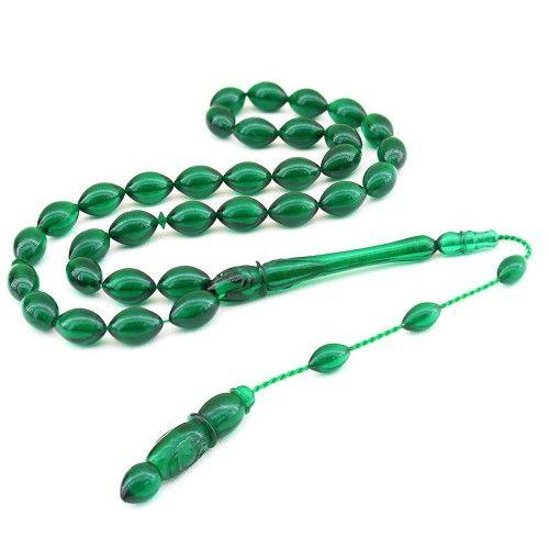 Bakalit Kehribarı Koyu Yeşil Vav İşlemeli Tesbih