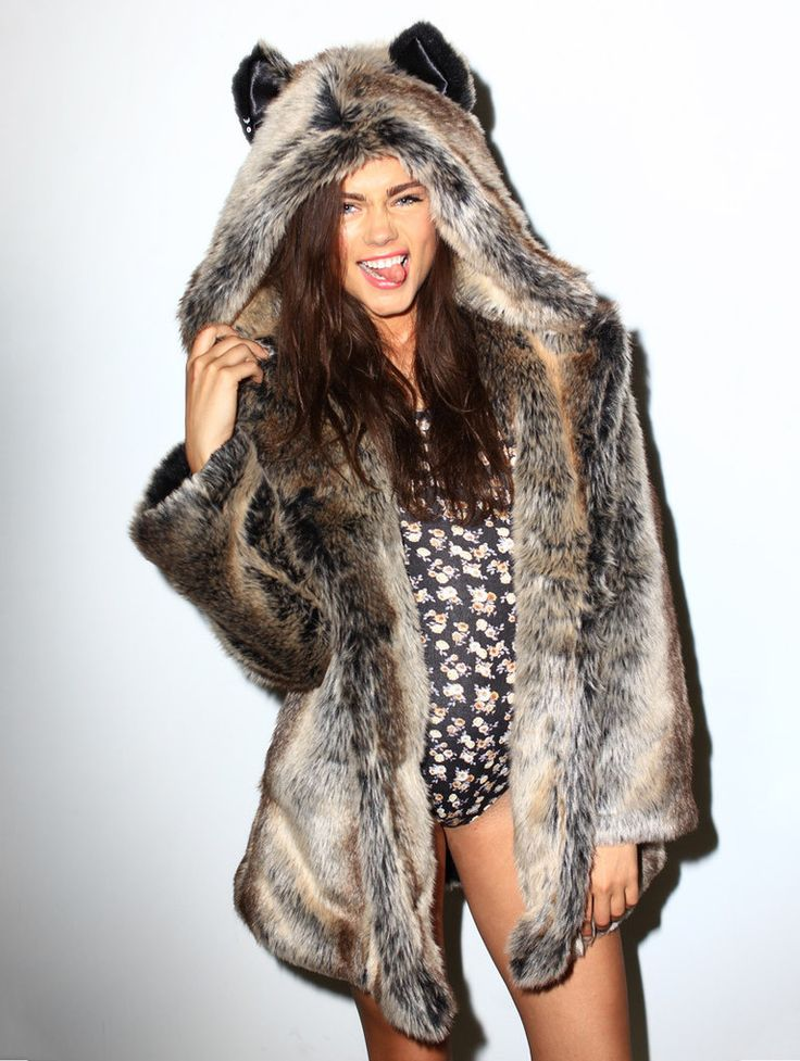 Grey Wolf faux fur animal inspired Jacket (100% Vegan). Available in Small, Medium & Large (unisex).