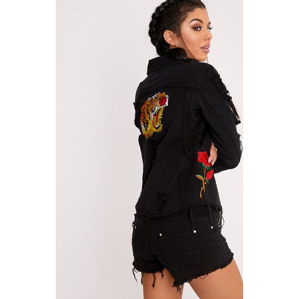 Evia Black Rose and Tiger Badge Distress Denim Jacket (£35) ❤ liked on Polyvore featuring outerwear, jackets, black, distressed denim jacket, embroidered jean jacket, embroidered denim jacket, jean jacket and distressed jacket