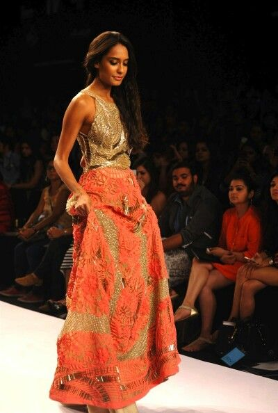 Gold and coral lehenga by Jade Couture at LFW 2014