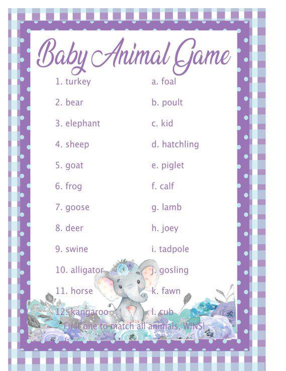 Purple Elephant Baby Shower Games 10 Game Set Plus 2 Free Elephant Baby Shower Theme Baby Shower Purple Elephant Baby Shower
