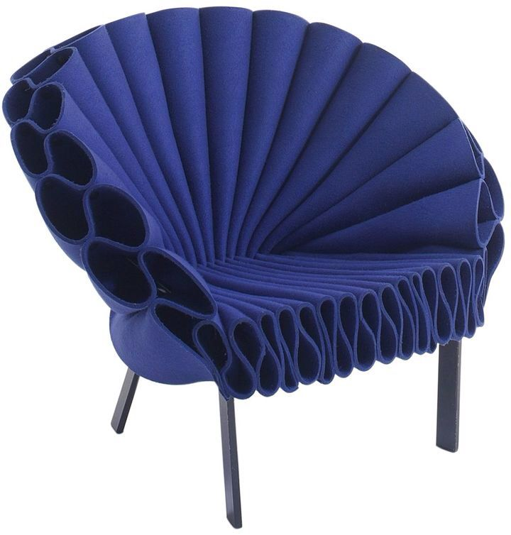 Peacock Wool Felt Armchair | Blue armchair, Blue accent ...