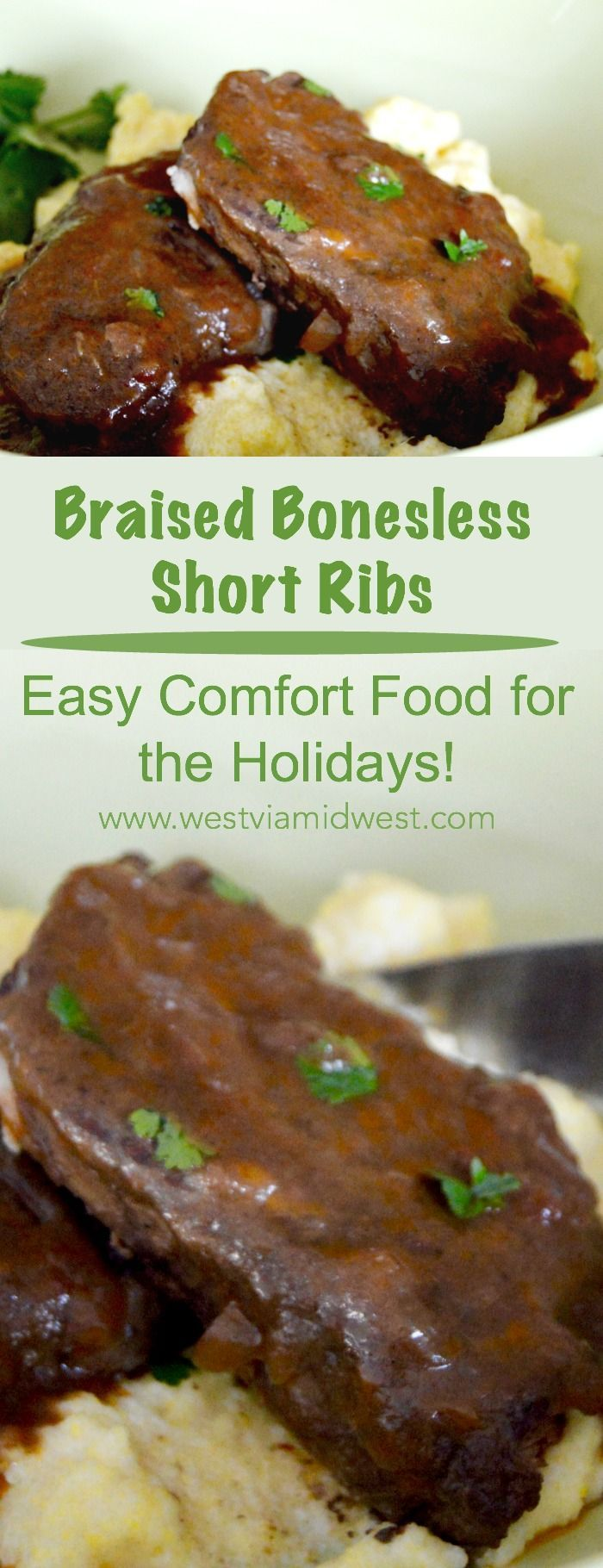 Braised Boneless Short Ribs: fork tender boneless short ribs in a smokey, coffee and wine infused sauce. Complete comfort food that is ideal for entertaining. #christmas #holiday #entertaining #Comfortfood #bonelessshortribs www.westviamidwest.com via @westviamidwest