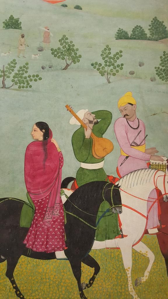The lady is identified as 'the singer Amal' detail of musicians on a ride during the spring festival Vasant, by Nainsukh, Pahari c. 1740–1745