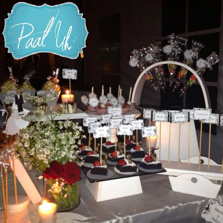 Paal uh mesas de postres snack 39 s noche boda brownies - Mesas para buffet ...