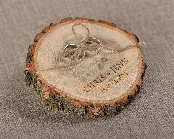 Engraved  Wood Wedding Ring Bearer Slice, Rustic Wooden Ring Holder ,  Burlap Ring Bearer Pillow on Etsy, $16.00