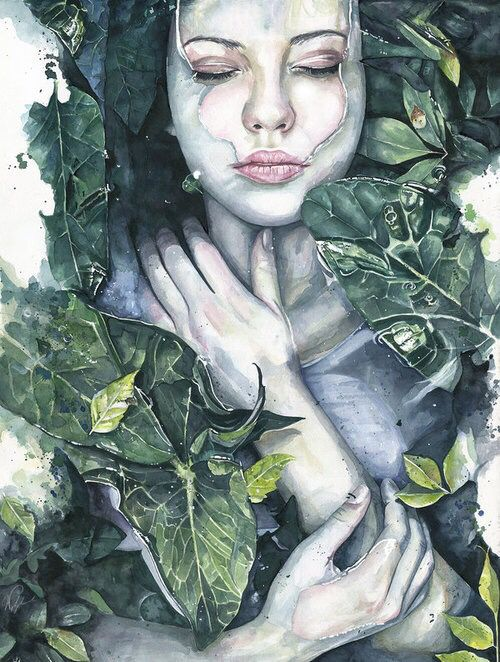 Girl lying in water with leaves art