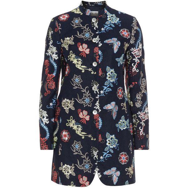White Label Rofa Fashion Dark-Blue / Multicolour Plus Size Embroidered... ($180) ❤ liked on Polyvore featuring outerwear, jackets, blazers, plus size, plus size blazers, long blazer jacket, women's plus size jackets, plus size white blazer and blazer jacket