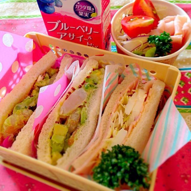 海老とアボカドサンドイッチ 卵とハムのサンドイッチ プチサラダ - 26件のもぐもぐ - 海老とアボカドのサンドイッチ弁当 by Nagashima  Yuko