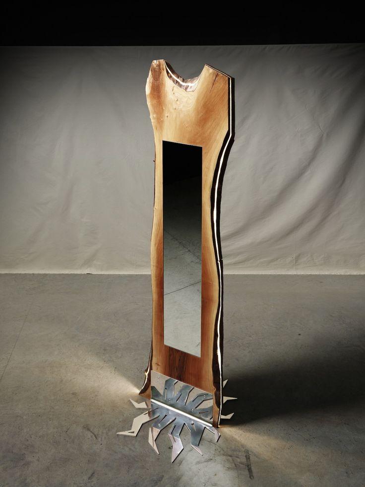 eleven foot tall european walnut center piece stainless steel base