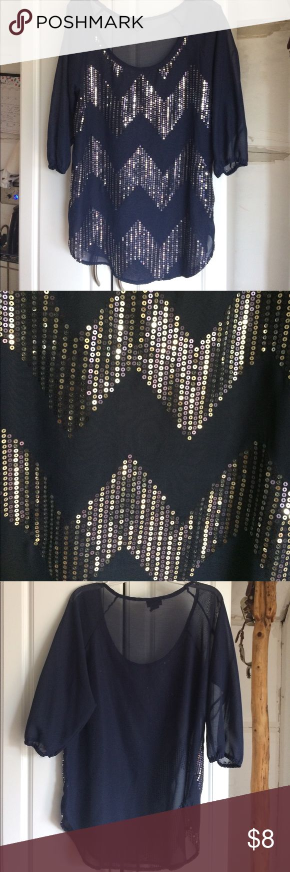 🎉SALE Blouse Navy blue no flaws and is in great condition. Very sparkly and it is sheer meaning it is see trough. Loose fit. Rue21 Tops Blouses