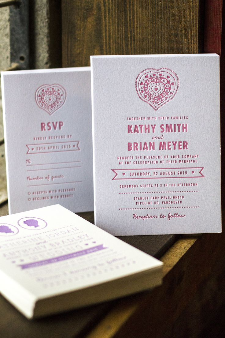 Wedding Invitations from Jukebox Print.  Letterpress on Cotton stock. 5x7 Wedding invitation and 4x6 RSVP card.  #jukeboxprint