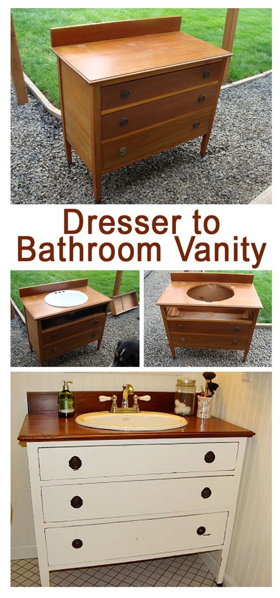 Dresser to Vanity @ DIY Home Design--shorten the drawers to allow for the pipes but keep them usable drawers