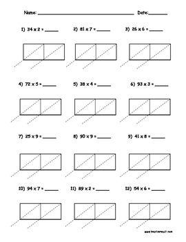 2 digit by 1 digit Lattice Multiplication Packet