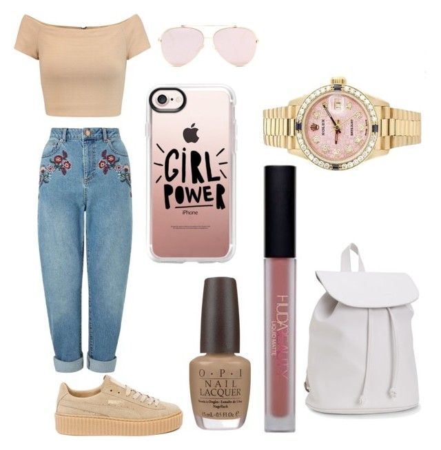 """""""Untitled #61"""" by danielle-bell-i on Polyvore featuring Miss Selfridge, Alice + Olivia, Puma, Casetify, OPI, Huda Beauty, Rolex and Aéropostale"""