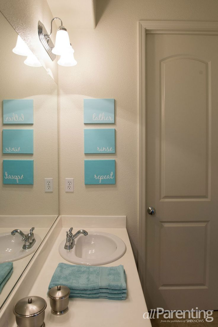 Bathroom wall decor diy - Perfect For The Kids Bathroom Via Allparenting Diy Bathroom Canvas Art