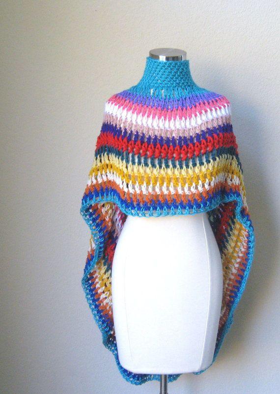 MULTICOLOR PONCHO BOHO Hippie Chic Fashion Crochet Poncho ...